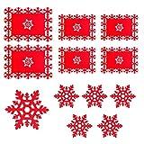 Manteles Individuales de Navidad - Juego de 6 Manteles Individuales de Navidad para Mesa y Taza, Diseño de copo de nieve rojo para Navidad, Vacaciones, Boda, Decoración de Cenas