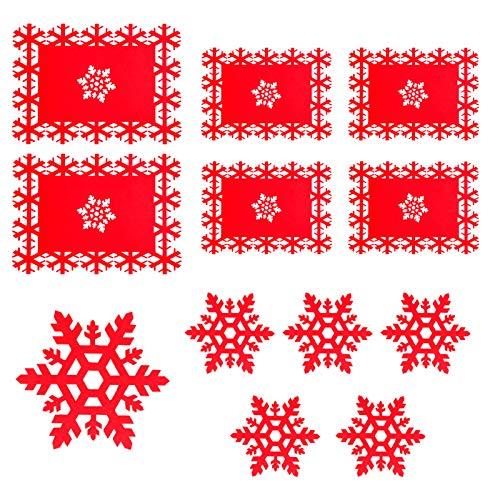 Tovagliette Natalizie - Set di 6 Tovaglietta Natalizia e Sottobicchiere, Set di Fiocchi di Neve Rossi, Usati per la Festa di Natale, Decorazioni per la Cena di Nozze Delle Vacanze Invernali