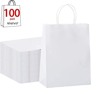 """GSSUSA 100Pcs 10"""" x 5"""" x 13"""" Brown Kraft Paper Bags Gift Bags with Handles, Shopping Durable Reusable Merchandise Retail Bags (White)"""