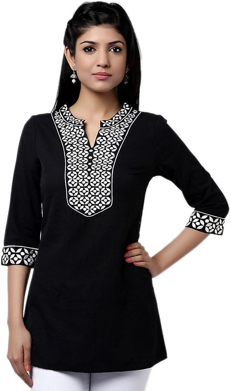 1545 Designs Women's Petite Size Fabulous Black Cotton Top