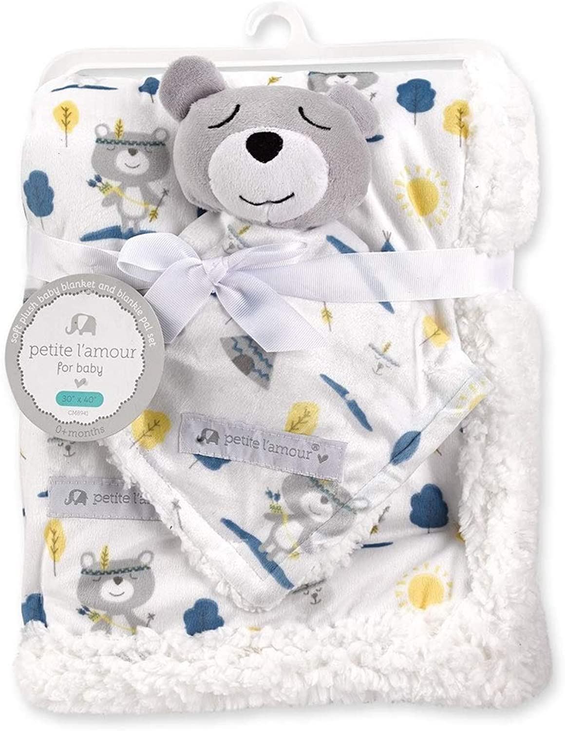Petite L'amour Soft Plush Blanket and Blankie Pal Set - Baby Bear