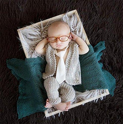 PEPEL Photographie Prop Baby pour bébé garçon Beau Crochet Tricot Costume Chapeau Jeans/Pantalons
