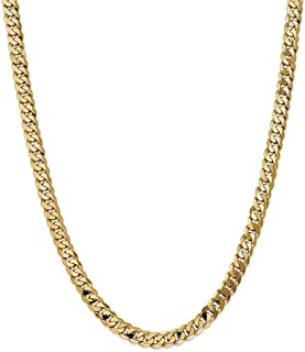 14k Yellow Gold 6.75mm Beveled Curb Chain Necklace 20 inch