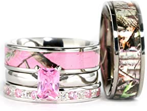 KingswayJewelry 4pcs His Hers Pink Camo Radiant Titanium,Stainless Steel & Sterling Silver Wedding Ring Set