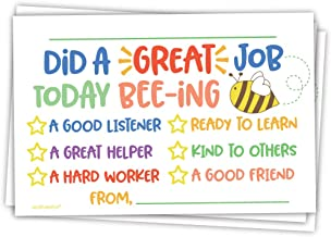Cute Bee Classroom Incentive Cards to Send Home - Teacher Notes to Parents - Motivational Good Behavior Cards [Package of 50]