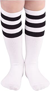 Kids Child Cotton Three Stripes Sport Soccer Team Socks Uniform Tube Cute Knee High Stocking for Boys Girls