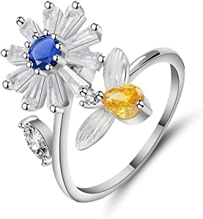 SUNNYGO Fidget Anxiety Ring for Women Cubic Zirconia Flower Adjustable Stress Relief Spinner Stackable Rings