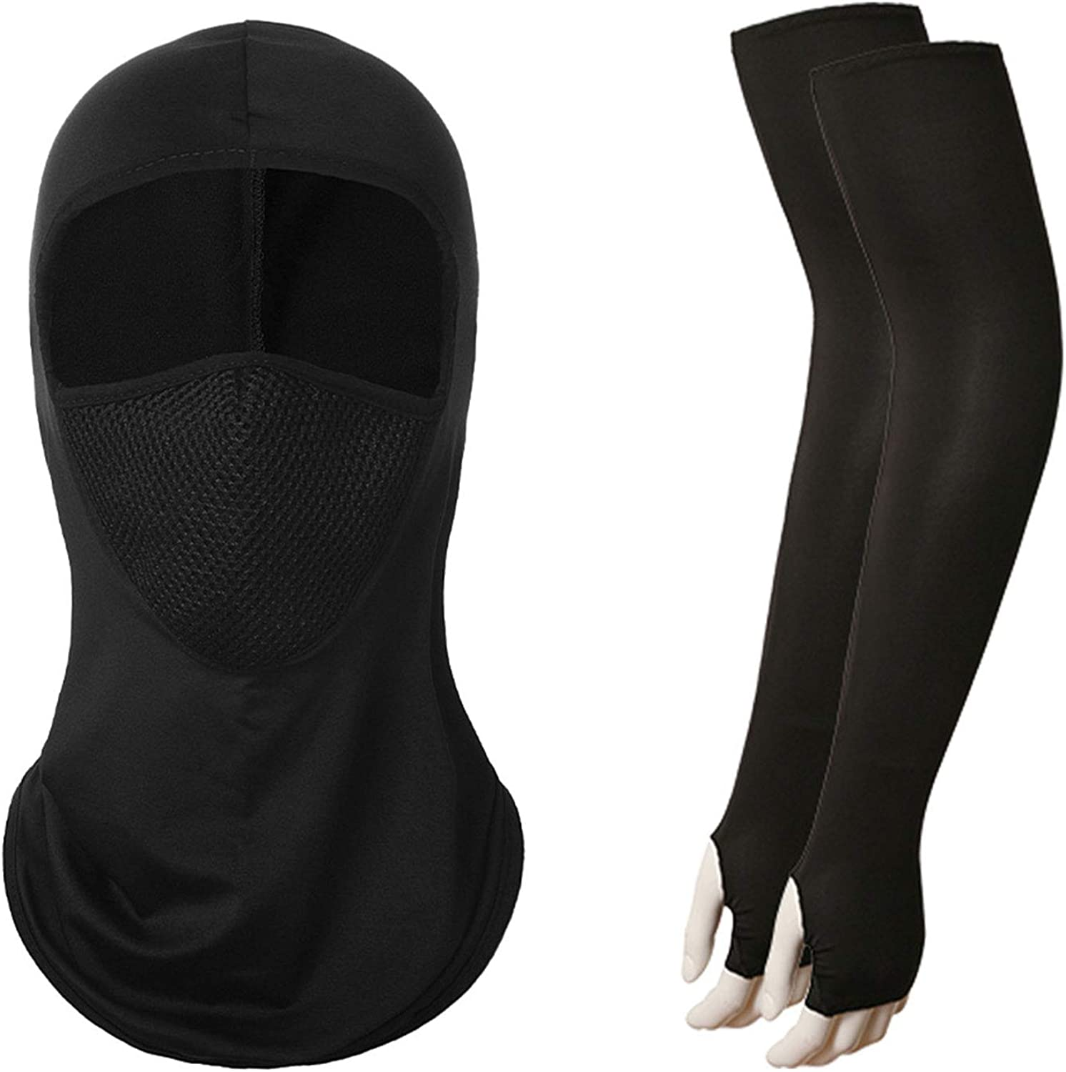 Guojanfon Summer Balaclava UV Protection Full Face Cover and Cooling Arm Sleeves