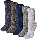 Loritta 5 Pairs Womens Vintage Style Winter Soft Warm Thick Knit Wool Crew Socks,Multicolor I