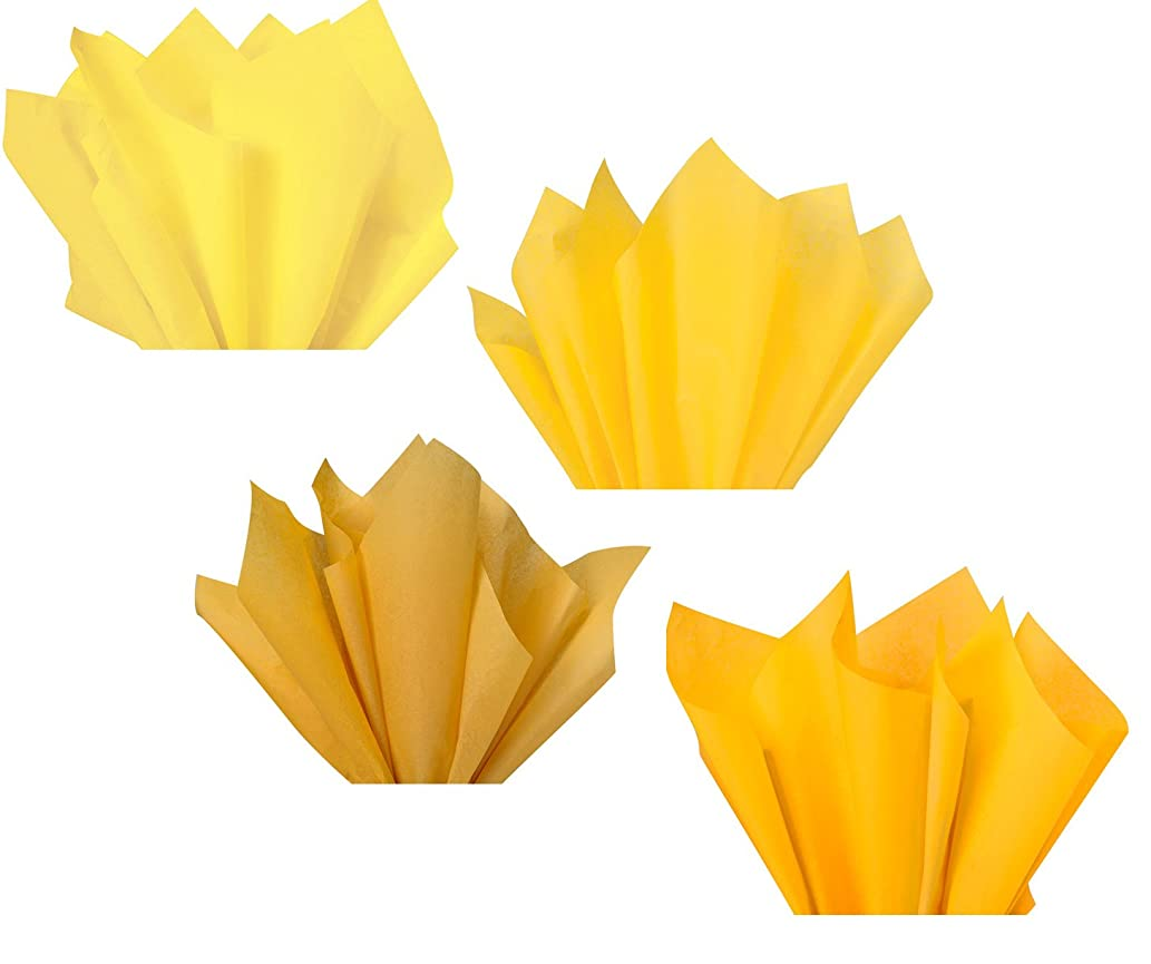 Yellow Lemon Gold Mustard Amber Assorted Colored Multi-Pack Tissue Paper for Flower Pom Poms Art Craft Decor Wedding Bridal Baby Shower Party Gift Bag Basket Filler Decoration
