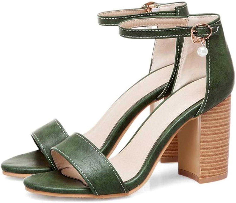QianQianStore Women Pumps Open Toe Square Heels Woman PU Sandals Buckle Classic Sandals Elegant shoes
