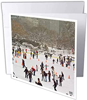 3D Rose gc_10309_2 Snow Blizzard in Central Park Manhattan New York City Ice Skate Ring - Greeting Cards, 6 x 6, Set of 12