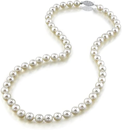 THE PEARL SOURCE 14K Gold 6.5-7.0mm Round Genuine White Japanese Akoya Saltwater Cultured Pearl Necklace in 24″ Matinee Length for Women