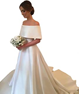 Women's Satin Off Shoulder A-Line Church Wedding Dresses Bridal Gowns 2018
