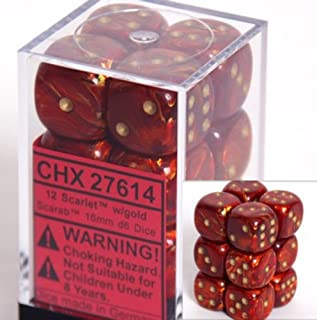 Chessex Dice D6 Sets: Scarab Scarlet with Gold - 16Mm Six Sided Die (12) Block of Dice, Red