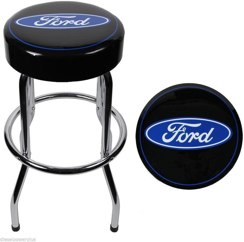 Ford Garage Bar Stool Ford Tough Powerstroke bluee Black Bar Stool Chair Shop Work Bench Garage Logo