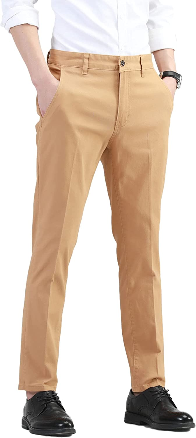 Max 58% OFF AONGSNNY Men's Slim Fit Chino P Tapered Stretch Pants Attention brand Khaki