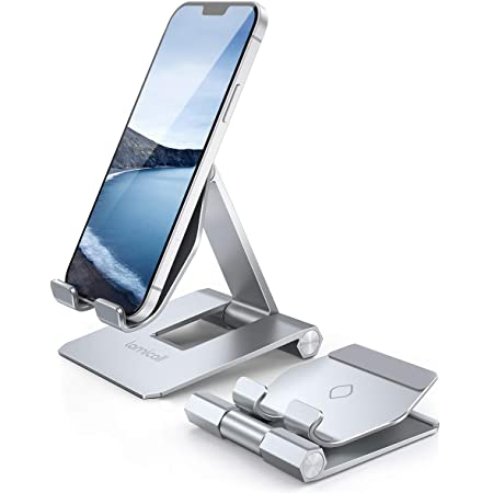 Lomicall 折り畳み スマホ スタンド ホルダー : アイホン 角度調整 可能 スマートフォン 携帯 置き 台 テーブル 卓上 アルミ aluminium ポータブル 縦置き 横向き smartphone 携帯電話卓上スタンド 机 充電スタンド 充電台 ドック foldable phone stand すたんど コンパクト 持ち運びやすい ハンズフリー 旅行用 置台 アイフォン 立て たてかけ デスク 縦 横 置き アイフォン, アンドロイド, 2021 iPhone13 mini pro promax iPhone 12 mini Pro Max, アイホン11pro 11 プロ マックス XS Max XR X 8 plus 7 7plus プラス iphone 6s 6 6plus, Galaxy, Xiaomi Redmi Note 8 9 10 pro mini, huawei p20 p30 lite, Sony, Xperia, android, switch に対応 銀 シルバー