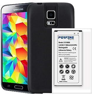 Perfine Batería Galaxy S5 7800mAh EB-BG900BBC Batería extendida para Galaxy S5 i9600 G900F G9009D Batería de reemplazo NFC con Estuche de protección de Borde Completo de TPU