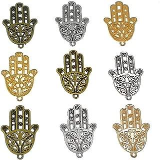 30pcs Filigree Hamasa Hand Charm,Jewish Hamesh Hamsa Hand Pendant Connector for DIY Necklace Bracelet Jewelry Making Findings(3 Assorted Colors)