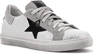 Once Sneakers in Pelle con Stella e Lacci, Made in Italy - Colore Argento