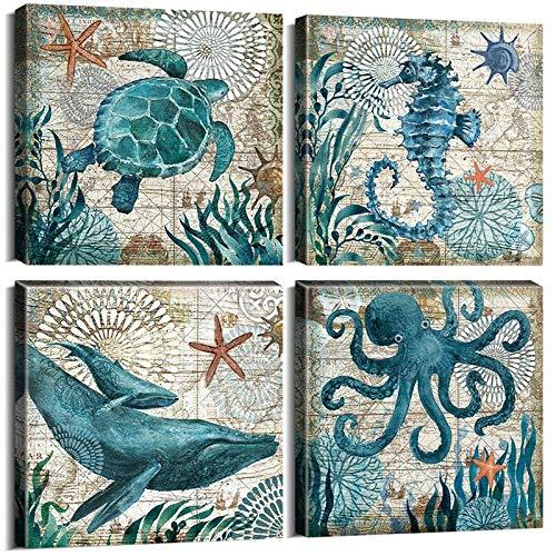 ZDFDC Meerestier Octopus Meeresschildkröte Seepferdchen Wal Leinwand Kunstwerk Malerei Poster Drucke Wandkunst Bild für Wohnzimmer Dekor-20x20cmx4 kein Rahmen