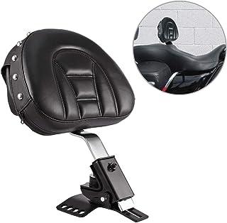INNOGLOW Solid Rivet Motorcycle Adjustable Plug-In Driver Rider Backrest Pad Kit Black PU W/Pocket Slotted Seat Custom for Harley Touring Models 1997-2019