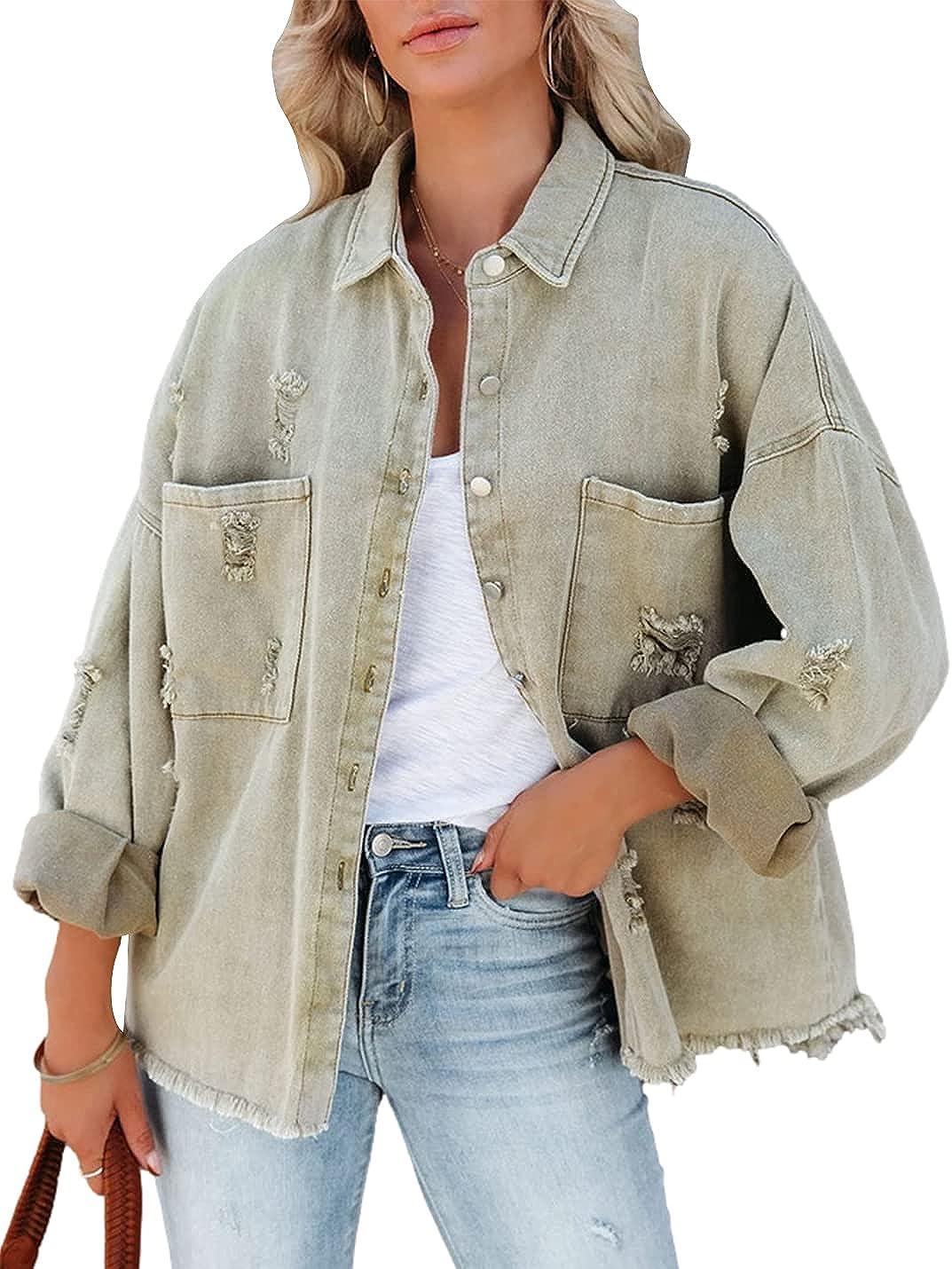 Xishiloft Women's Frayed Denim Jackets Lapel Long Sleeve Buttons Washed Distressed Holes Casual Oversized Coats