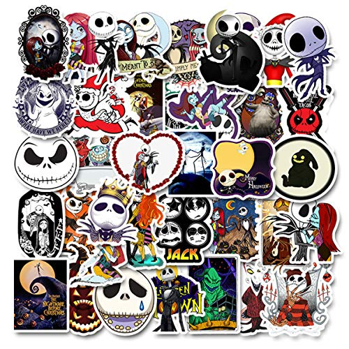 50PCS The Nightmare Before Christmas Thriller Horror Style Toy Sticker for Water Bottle Skateboard Luggage Trolley Laptop Doodle Cool Tim Burton's Sticker