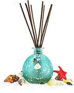 Reed Diffuser, Onesky Ocean Mist Home Fragrance Gift Set for Home Bathroom Office Elegant Decorations, Aromatherapy Oil Refill -3.4 fl oz Essential Oil&8 Reed Sticks&Blue Snowflake Round Bottle