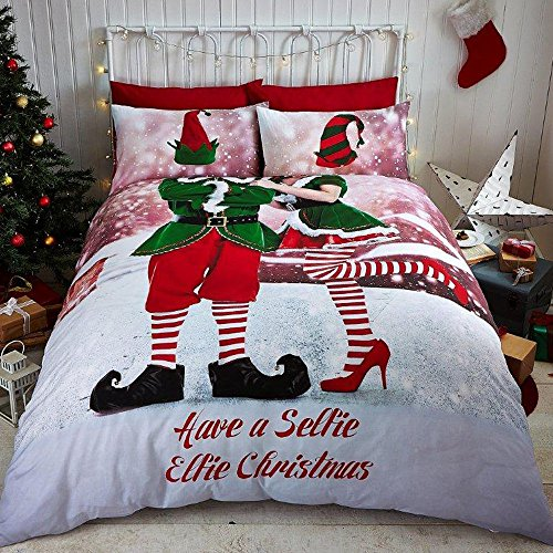 Tony's Textiles - Set Copripiumino - Babbo Natale con Slitta - Elfo - Matrimoniale