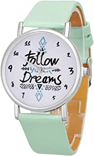 Womens Quartz Watches with Worlds,COOKI Unique Analog Fashion Clearance Lady Watches Female Watches on Sale Casual Wrist Watches for Women,Round Dial Case Comfortable PU Leather Watch-H30