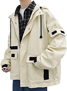 Howely Mens Fine Cotton Hoodie Zip-Front Mid Long Trench Outwear Jacket