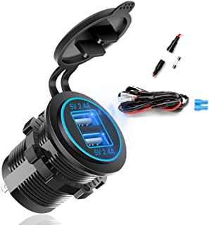 Dual USB Fast Charger Socket, Waterproof Power Outlet 4.8A with LED Voltmeter+Wire Build in 10A Fuse DIY Kit for 12V/24V M...