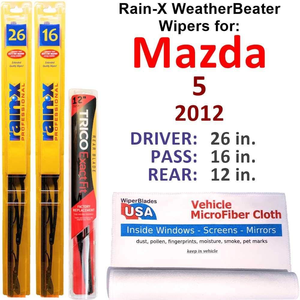 Rain-X WeatherBeater Wipers for 2012 Mazda 5 Set WEB限定 w W 定価の67%OFF Rear