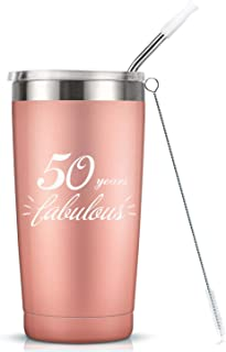 50 Years Fabulous I 50th Birthday Gifts For Women I 20 Oz Vacuum Insulated Stainless Steel Mug Tumbler with Lid, Funny Turning 50 Gift Idea for Women Her Wife Mom Grandma Sister BFF Friend