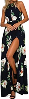 Women's Halter Neck Floral Print Backless Split Beach Party Maxi Dress