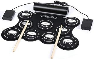 ポータブル USB ドラム、卓上ロールアップ電子ドラムキット、9パッド折り畳み式ドラムセット内蔵スピーカーペダルドラムスティック素晴らしい休日誕生日ギフト子供のための