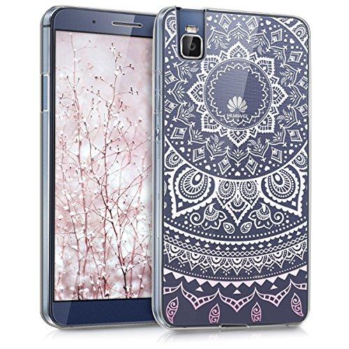 kwmobile Huawei ShotX Hülle - Handyhülle für Huawei ShotX - Handy Case in Indische Sonne Design Rosa Weiß Transparent
