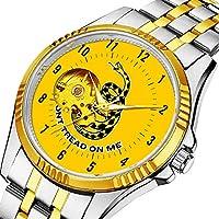 男性の人格ダイヤル&クリアウィンドウのためのカジュアルメンズ自動機械式時計高級ブランドカジュアルスポーツウォッチ170. ガズデンは私を踏みません旗の腕時計