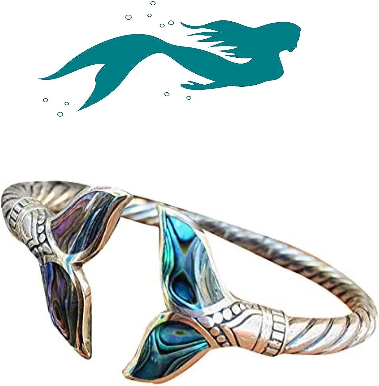 Alexsix Mermaid Tail Bangle Bracelet Fashion Simple Open Bangles Cuff Bracelets for Women Vintage Mermaid Tail Bangle Abalone Shell and Mermaid Tail Bangle Bracelet Adjustable for Girls