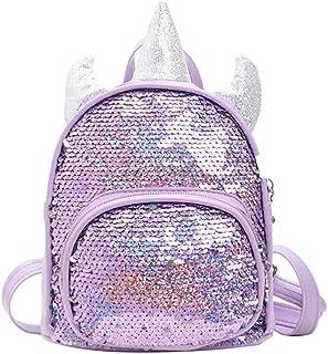 Mochila de unicornio, brillante, con lentejuelas, reversible y pequeño, arco iris, mágico, mochila para niñas
