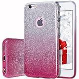 MILPROX Coque iPhone 6s, iPhone 6 Bling Glitter Coque Paillettes Extrêmement Mince 3 Couche de Housse Protection pour iPhone 6/iPhone 6S Gradient Rose