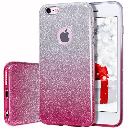 MILPROX Cover iPhone 6 Plus, iPhone 6s Plus Glitter Shiny Bling Slim Crystal Clear TPU Bling Glitter Paper Frosted PC Shell Protettiva Custodia per iPhone 6 Plus/6s Plus - Rosa Gradiente