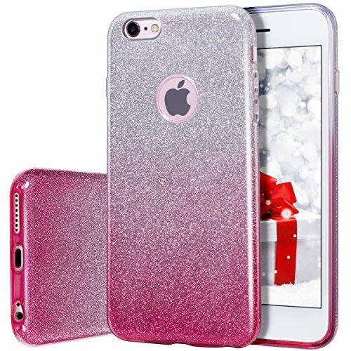MILPROX iPhone 6s Plus Hülle, Glitzer-Schutzhülle schützende Hülle, kompatibel mit iPhone 6 Plus-Pink Farbverlauf