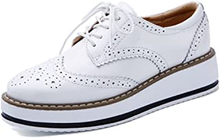 YING LAN Women's Platform Lace-Up Wingtips Square Toe Oxfords Shoe White Size: 9