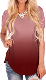 Women's Comfy Tunic Tops V Neck Short Sleeve Casual Tee Shirts Ombre Color Wine L