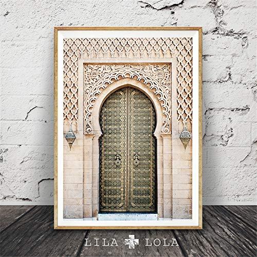 Rjjwai Portal Tür Wandkunst Leinwand Marokko Poster Und Druck Malerei Skandinavischen Stil Dekoration Bild Wohnzimmer Dekor Für Zuhause Schlafzimmer Dekor 60x90cm