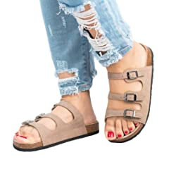 Ikevan/_ Platforms Sandals Casual Womens Rubber Sole Studded Wedge Buckle Ankle Strap Open Toe Sandals