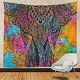 N / A Elefante Mandala Bohemio Mandala Indio Tapiz Colgante de Pared Bohemio Gitano psicodélico Tapiz brujería Tapiz decoración del hogar Tela de Fondo A1 130x150cm